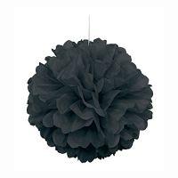 "16"" Black Tissue Paper Pom Pom"